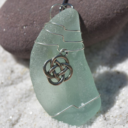 Custom Surf Tumbled Sea Glass Celtic Knot Ornament - Choose Your Color Sea Glass Frosted, Olive Green, and Brown.