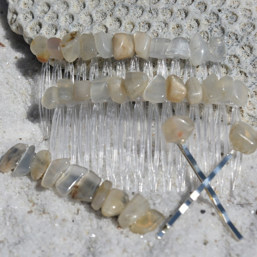 Moonstone Hair Clip Set