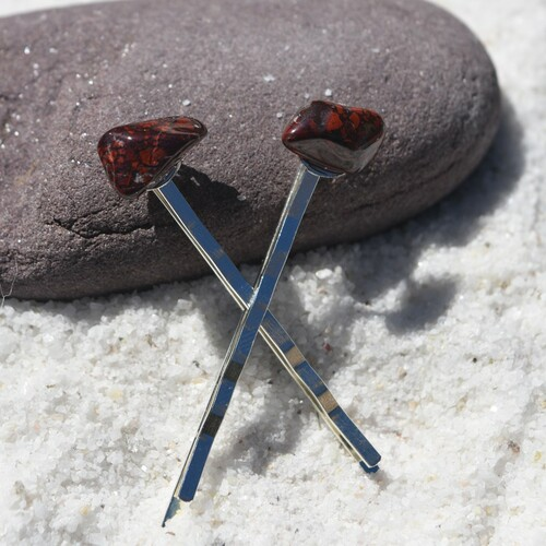 Brecciated Jasper Stone Hair Pins