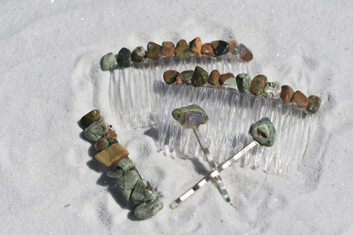 Rhyolite Stone Hair Clip Set