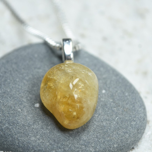 Custom Tumbled Citrine Stone Necklace - Choose Sterling Silver Chain or Leather Cord - Quantity of 1