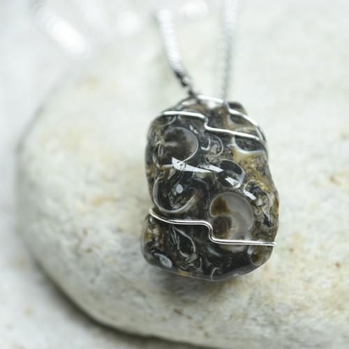 Turritella Stone Wire Wrapped Necklace