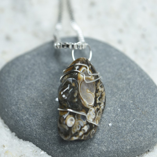 Custom Tumbled Turritella Stone Wire Wrapped Necklace - Choose Sterling Silver Chain or Leather Cord - Quantity of 1