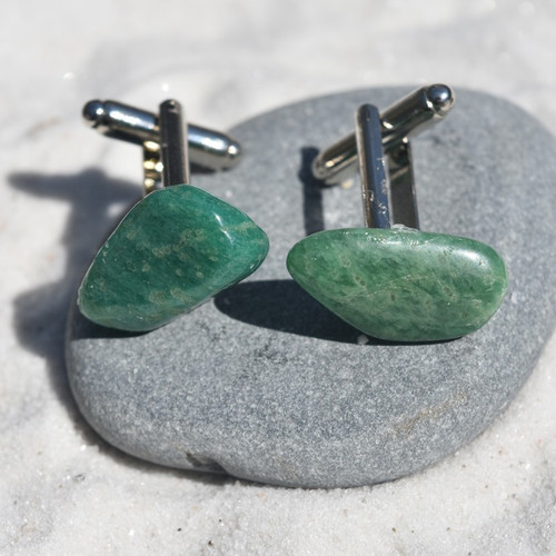 Tumbled Amazonite Stone Cufflinks
