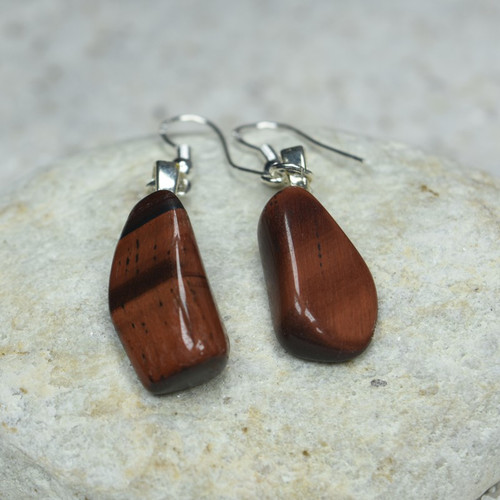 Tumbled Red Tiger's Eye Stone Dangling Earrings