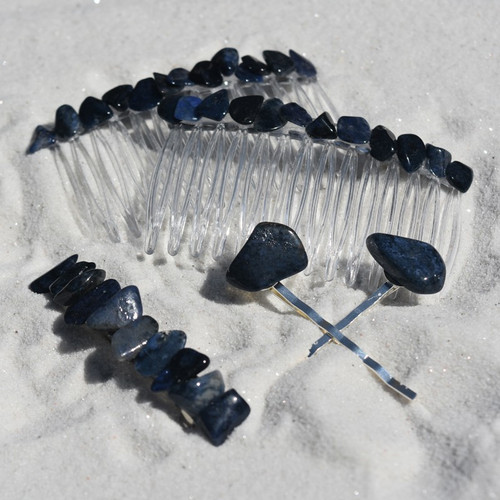 Dumortierite Stone Hair Clip Set