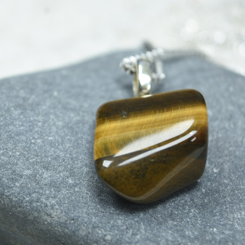 Custom Tumbled Gold Tiger's Eye Stone Necklace - Choose Sterling Silver Chain or Leather Cord - Quantity of 1