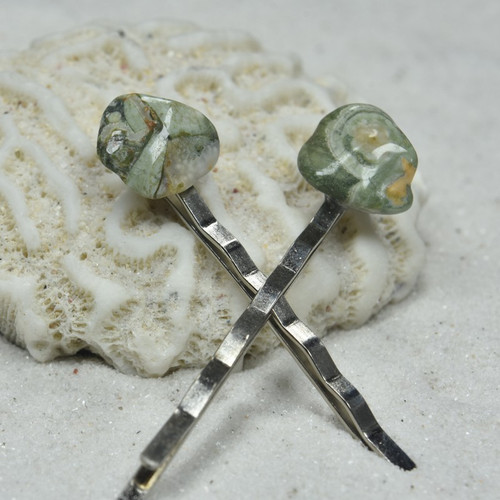 Rhyolite Stone Hair Pins (Quantity of 2)