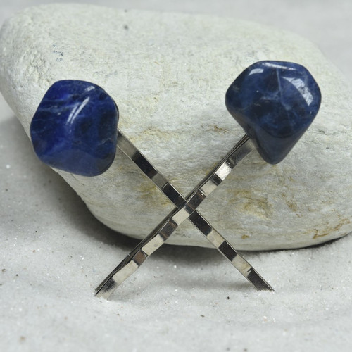 Sodalite Stone Hair Pins (Quantity of 2)-1