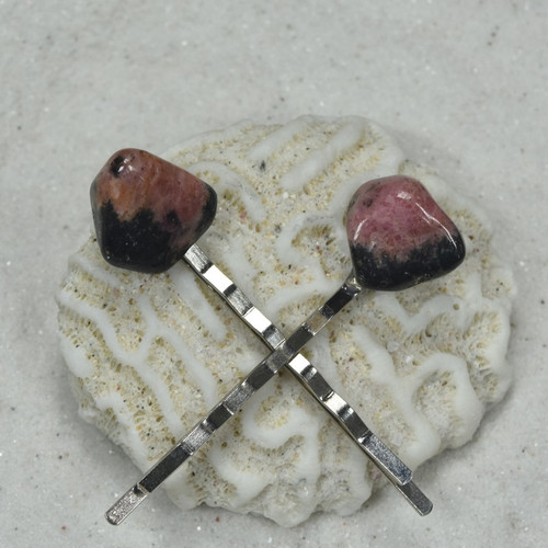 Rhodonite Stone Hair Pins (Quantity of 2)