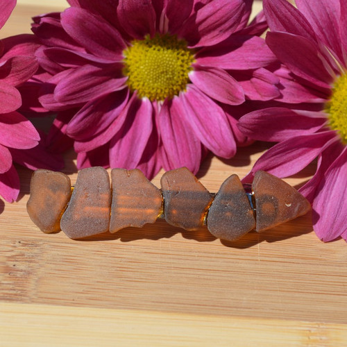 Genuine Brown Sea Glass French Barrette - 60 mm