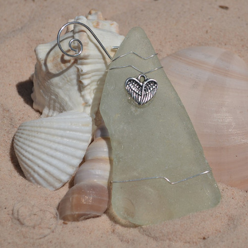 Surf Tumbled Sea Glass Heart Angel Wings Ornament - Choose Your Color Sea Glass Frosted,  Green, and Brown - Made to Order