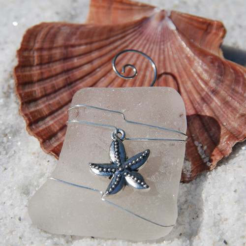 Starfish on a Surf Tumbled Sea Glass Ornament - Choose Your Color Sea Glass Frosted, Green, and Brown - Made to Order
