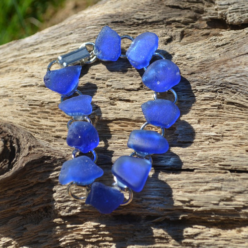 Genuine Surf Tumbled Blue Sea Glass Bracelet