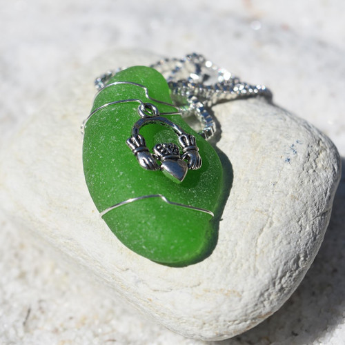 Custom Handmade Genuine Sea Glass Necklace with a Silver Claddagh Charm - Choose the Color - Frosted, Green, Brown, or Aqua