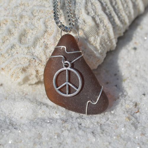 Custom Handmade Genuine Sea Glass Necklace with a Silver Peace Symbol Charm - Choose the Color - Frosted, Green, Brown, or Aqua