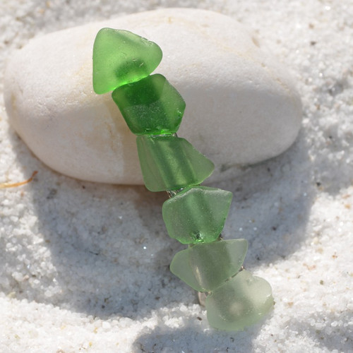 Shades of Green Sea Glass French Barrette - 60 mm