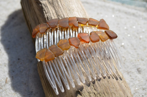 Genuine Surf-Tumbled Amber Brown Sea Glass Hair Combs (Quantity of 2)