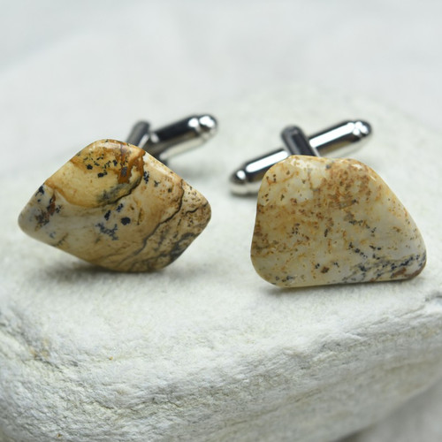 Custom Picture Jasper Stone Cufflinks Handmade - 1 Set