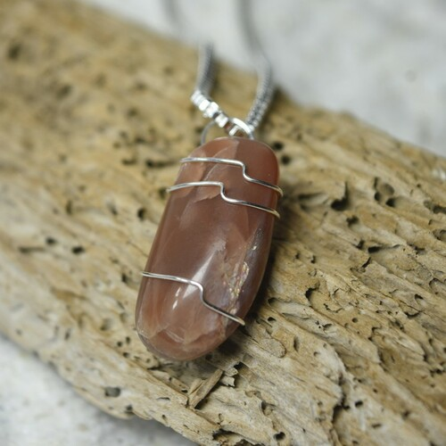 Custom Tumbled Peach Moonstone Wire Wrapped Necklace - Choose Sterling Silver Chain or Leather Cord - Quantity of 1