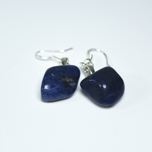 Custom Tumbled Dumortierite Dangling Earrings - 1 Set