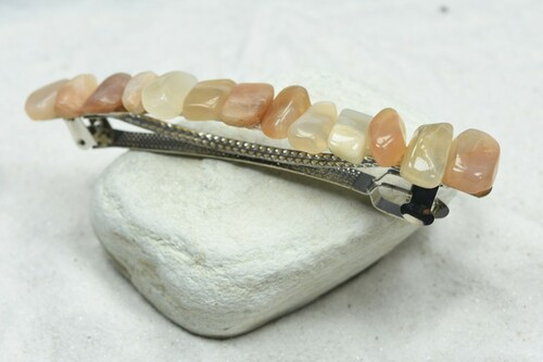 "Peach Moonstone French Barrette Hair Clip 4"" or 100 mm Length"
