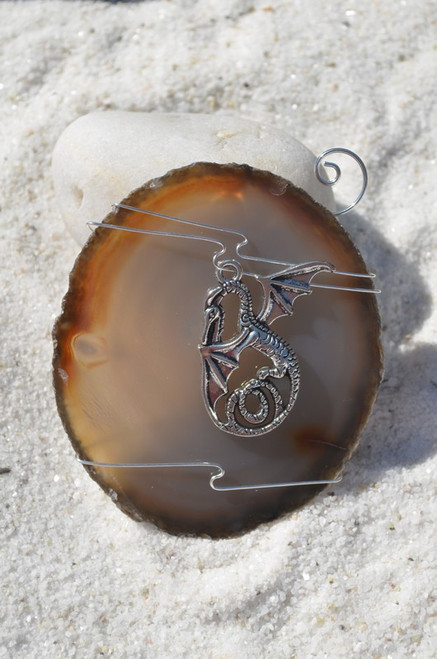 Custom Handmade Agate Slice Ornament with Silver Dragon Charm - Choose Your Agate Slice Color