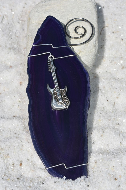 Custom Handmade Agate Slice Ornament with Silver Guitar Charm - Choose Your Agate Slice Color-1
