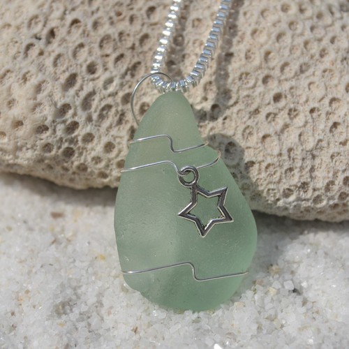 Custom Handmade Genuine Sea Glass Necklace with a Silver Star Charm - Choose the Color - Frosted, Green, Brown, or Aqua-1