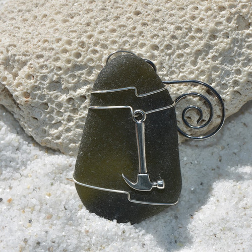 Hammer on a Surf Tumbled Sea Glass Ornament for Construction Worker, Contractor, Handyman or Woodworker  - Choose Your Color Sea Glass Frosted, Green, and Brown - Made to Order