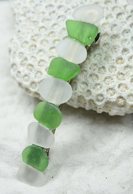 "Genuine Surf Tumbled Frosted White and Green Sea Glass French Barrette Hair Clip 4"" or 100 mm Length - Quantity of 1"