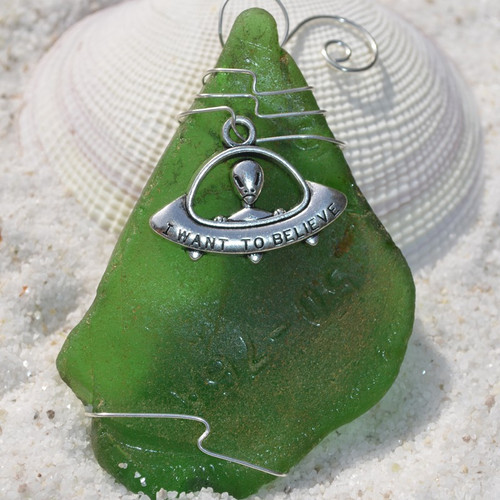 Alien UFO Charm on a Surf Tumbled Sea Glass Ornament - Choose Your Color Sea Glass Frosted, Green, and Brown - Made to Order