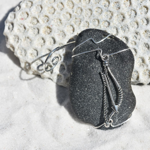 Bow and Arrow on a Surf Tumbled Sea Glass Ornament - Choose Your Color Sea Glass Frosted, Green, and Brown - Made to order
