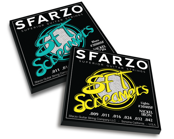 Sfarzo SFT BASS - SFT SCREAMERS - These strings have higher iron content which allows the string to sustain longer with higher output. Also known for their long life while maintaining their tone. A perfect Rock and Roll to Heavy Metal string.