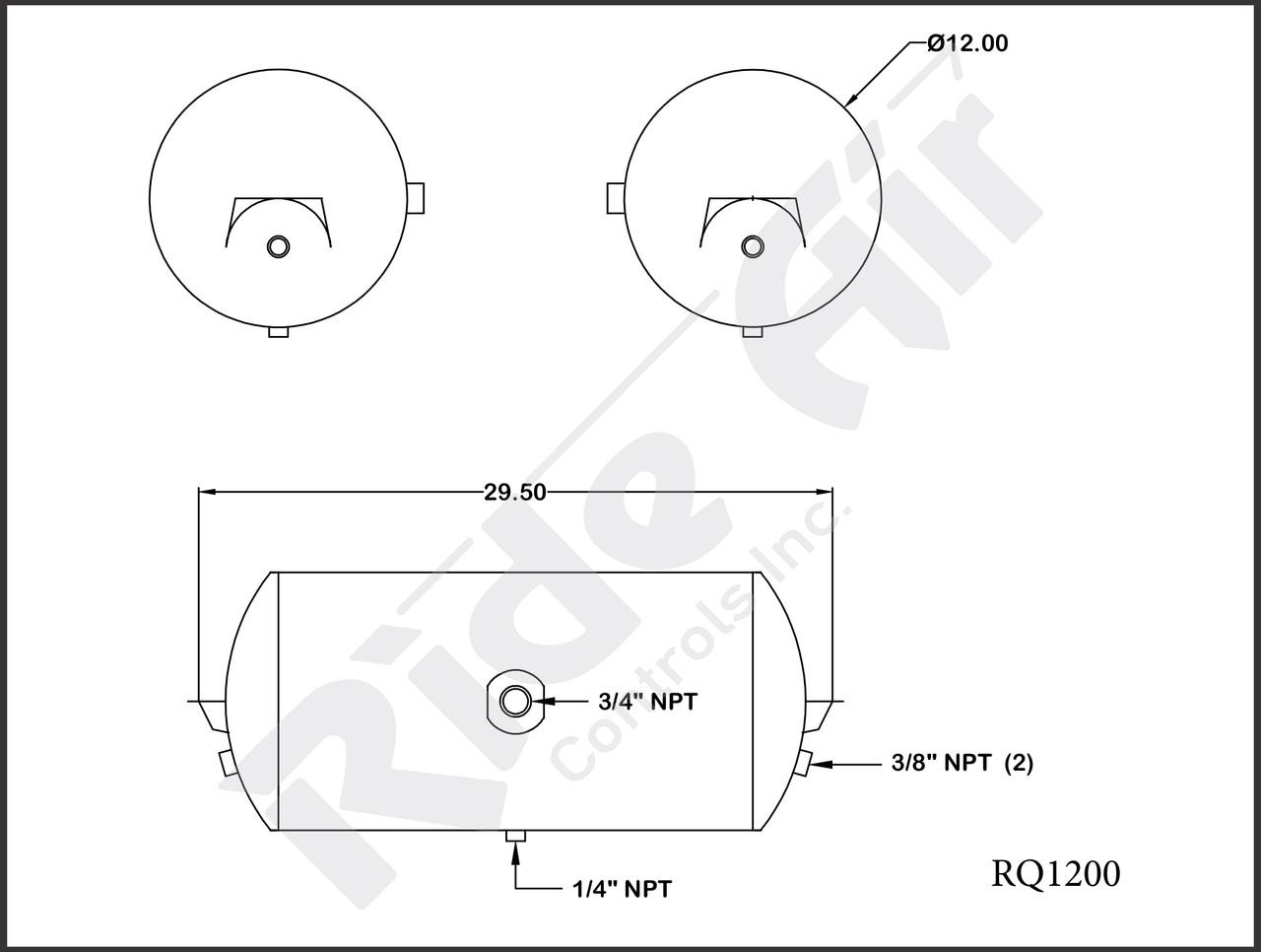 RQA1200 - Aluminum Air Tank 12 x 29.5 1 Port (RQA1200)