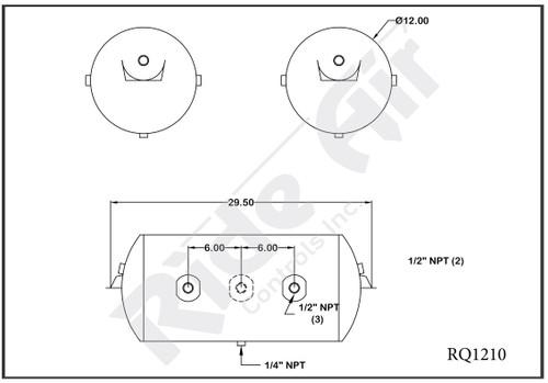 RQ1210 - Air Tank 12 x 29.5 2x1/2 @ O deg 1-1/2 @ 180 deg