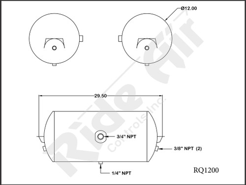 RQ1200 - Air Tank 12 x 29.5 1 Port