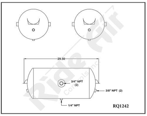 """RQ1242 - Air Tank 12"""" x 29.5"""" 2- 3/4 ports @180 deg, inv.brkts."""