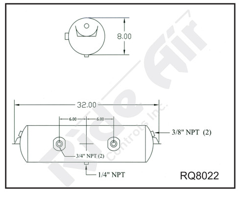 "RQ8022 - Air Tank 8 x 32"" 2 Port @ 0 Deg Inverted Bracket"