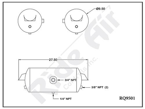 "RQ9501 - Air Tank 9.5 x 27.5"" 1 Port  Inverted Bracket"
