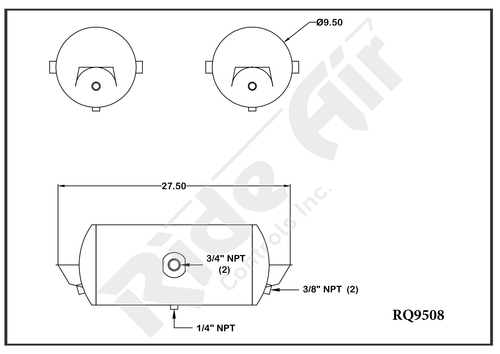 """RQ9508 - Air Tank 9.5 x 27.5"""" 2 Ports @ 180 Deg"""