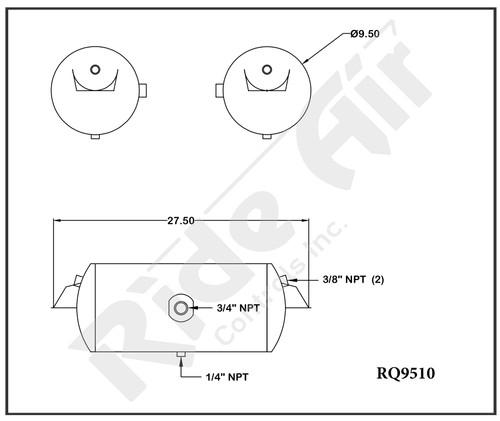 "RQ9510 - Air Tank 9.5"" x 27.5"" 1 - 3/4"" port-end ports above Inverted Bracket"