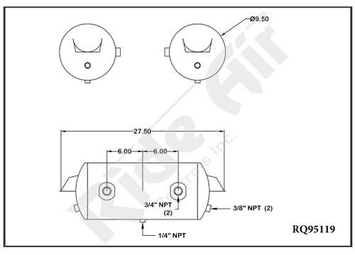 "RQ95119 - Air Tank 9.5 x 27.5"" 2 Ports @ 0 Deg Inverted Brackets (RQ95119)"
