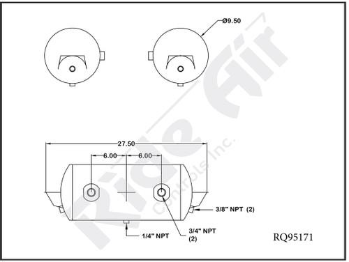 """RQ95171 - Air Tank 9.5 x 27.5"""" 2 Ports @ 0 Deg (RQ95171)"""