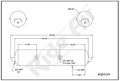 """RQ95239 - Air Tank 9.5"""" Dia 49"""" 3 Ports (RQ95239)"""