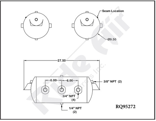 """RQ95272 - Air Tank 9.5"""" x 27.5"""" Multi Port Multi Mount 4 main body ports 2 Drain Ports (RQ95272"""