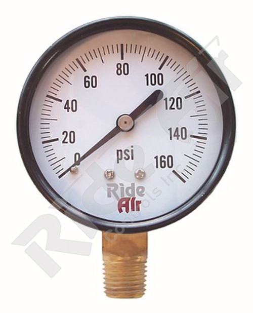 "Air Gauge 2.5"" 0-160psi 1/4"" Bottom Mount (RA325B)"
