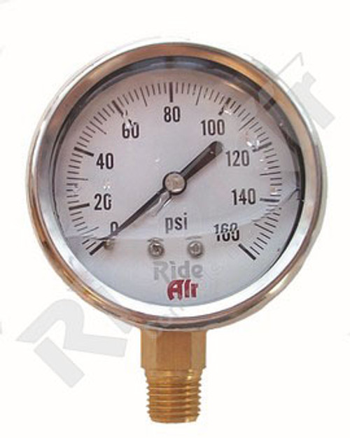 "Air Gauge 2.5"" 0-160psi Liquid Bottom Mount (RA325BL)"