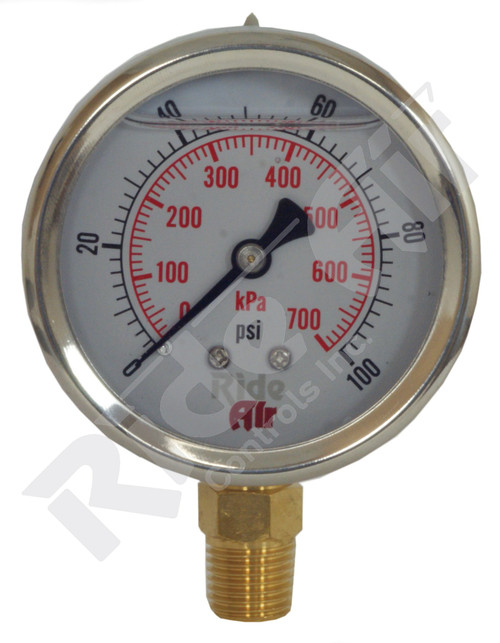 "RA325BL-100 - Air Gauge 2.5"" 0-100psi Liquid Bottom Mount"