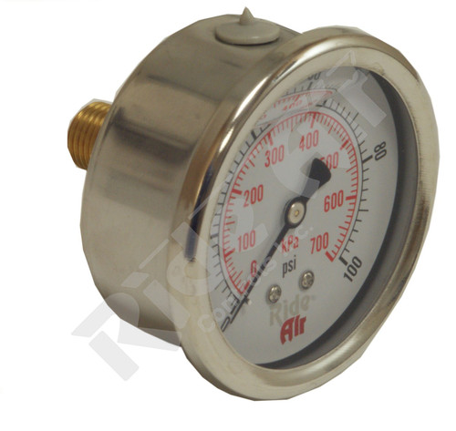 "RA325CL-100 - Air Gauge 2.5"" 0-100psi Liquid Center Back Mount"